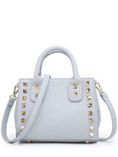 Rivets Light Colour Snap Tote Bag - Light Gray