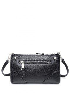 Zips Textured PU Leather Crossbody Bag - Black