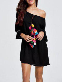 Pom Pom Off Shoulder Dress - Black 2xl
