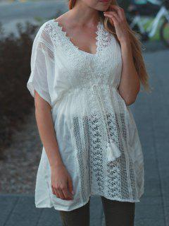 Plunging Neck Hollow Lace-Up White Cover-Up - White