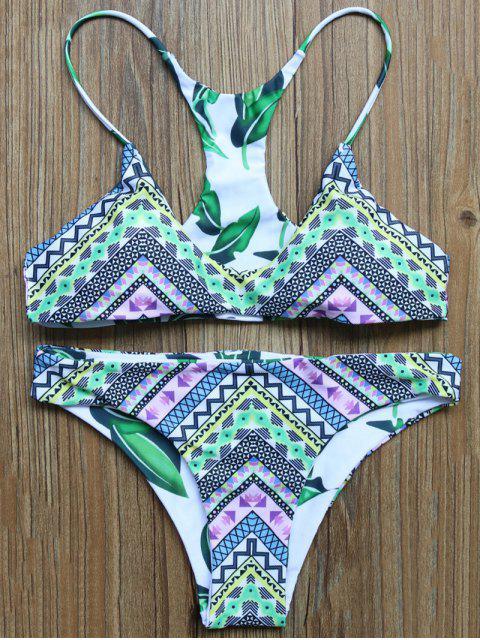 trendy Leaf Print Reversible Bikini Set - COLORMIX S Mobile