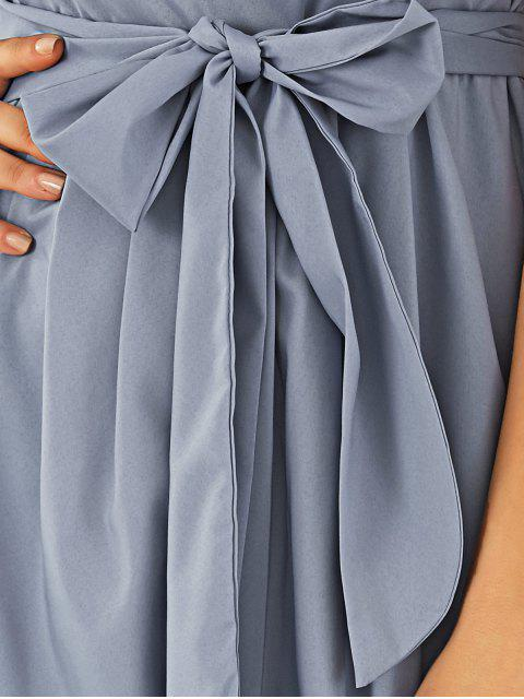 womens V Neck Belted Midi Dress - GRAY M Mobile
