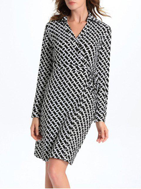 trendy Geometric Print Long Sleeve Midi Wrap Dress - WHITE AND BLACK L Mobile