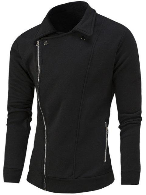 ladies Turn-Down Collar Side Zipper-Up Coat - BLACK XL Mobile