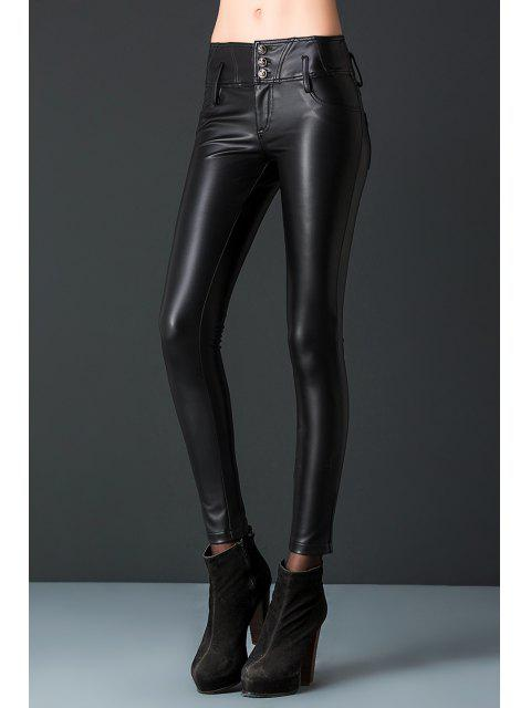 trendy PU Leather Pants - BLACK L Mobile
