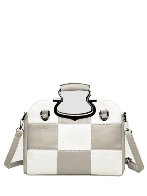 Color Block Checkered sac fourre-tout - Gris Clair  Mobile