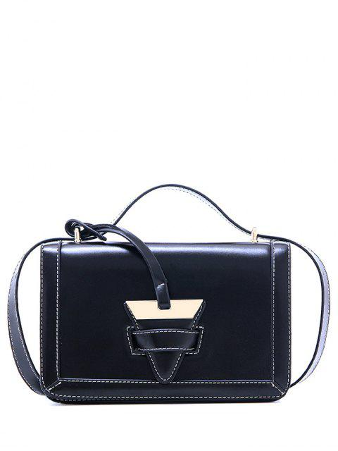 sale Vintage Metal Stitching Crossbody Bag - BLACK  Mobile