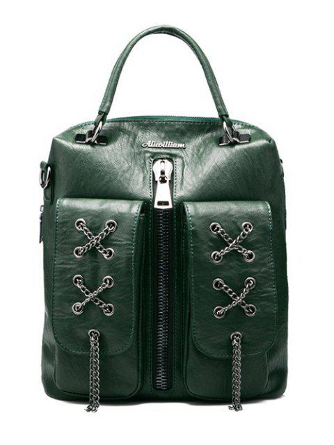 trendy Chains Zippers PU Leather Backpack - BLACKISH GREEN  Mobile