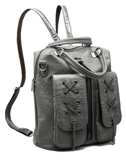 fashion Chains Zippers PU Leather Backpack - GRAY  Mobile
