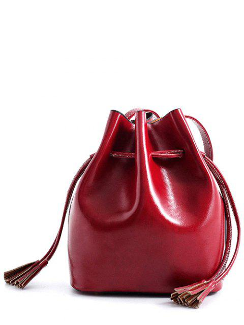 buy Tassels Drawstring PU Leather Crossbody Bag - WINE RED  Mobile