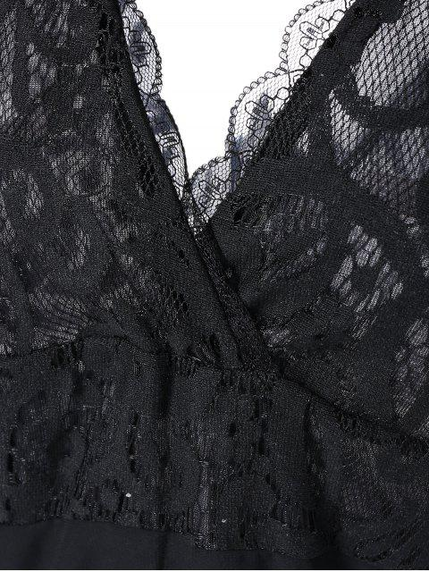 outfit Lace Spliced Plunging Neck Sexy Birthday Dress - BLACK S Mobile