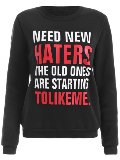 outfits Round Neck Letter Print Sweatshirt - BLACK S Mobile