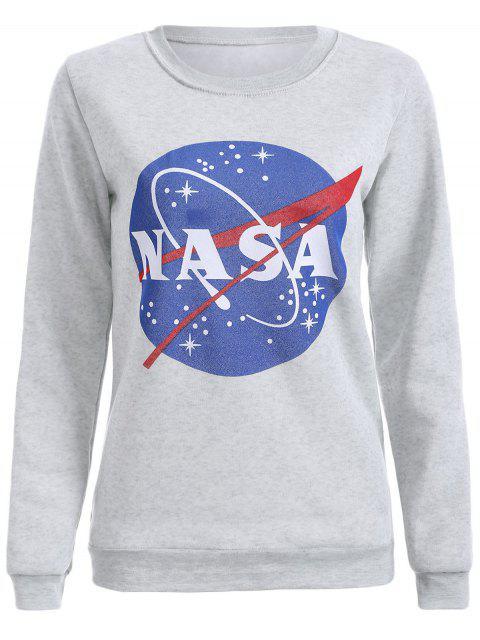 sale Round Neck Galaxy Print Sweatshirt - LIGHT GRAY XL Mobile