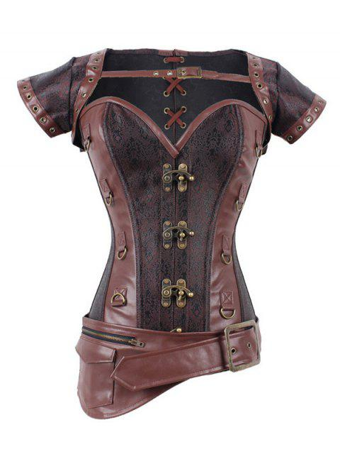 fashion Zipper Buckle Design Asymmetric Corset - DEEP BROWN S Mobile