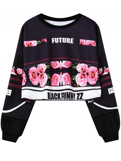 online Floral Letter Print Cropped Sweatshirt - BLACK ONE SIZE Mobile