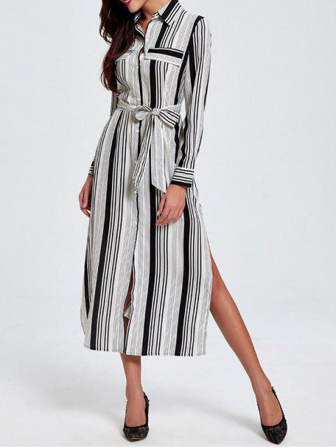 best Striped Shirt Collar Long Sleeve Shirt Dress - WHITE L Mobile