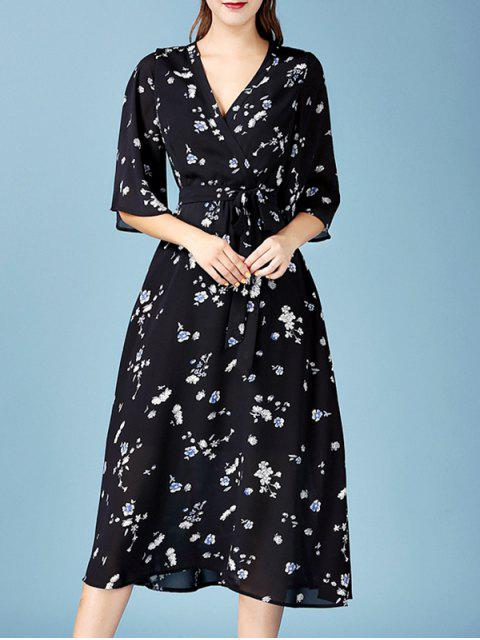 affordable Tiny Floral Print V Neck 3/4 Sleeve Chiffon Dress - BLACK M Mobile