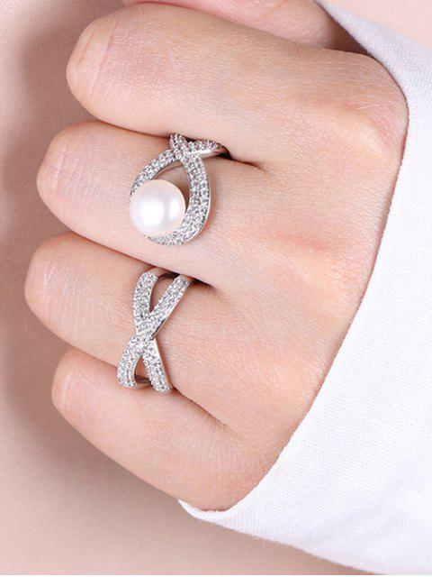 chic Faux Pearl Rhinestoned Infinite Cuff Ring - SILVER ONE-SIZE Mobile