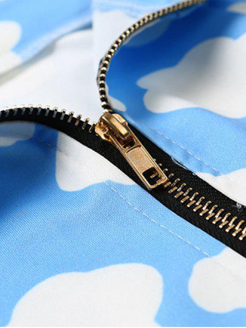 hot Cloud Print Asymmetric Slit Skirt - AZURE ONE SIZE Mobile