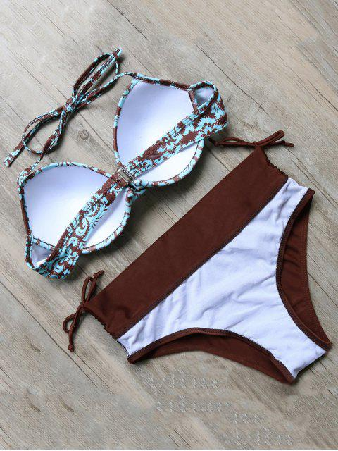 ladies Vintage Floral Push-Up Bikini - COLORMIX M Mobile