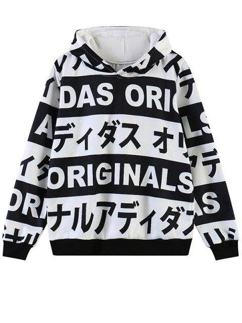 new Letter Print Fleece Hoodie - WHITE ONE SIZE Mobile