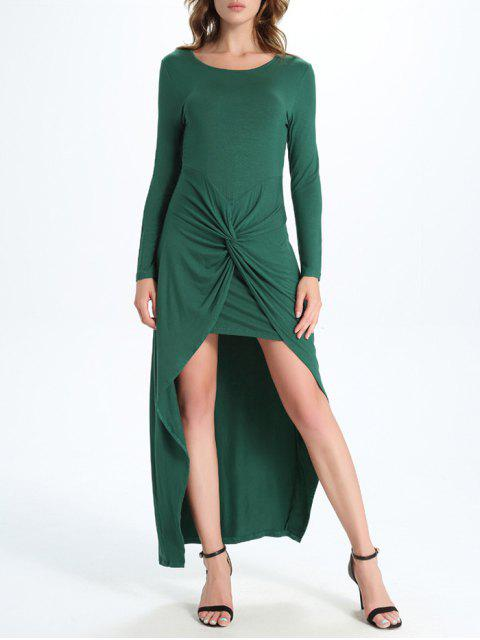 unique Draped High Low Dress - GREEN L Mobile