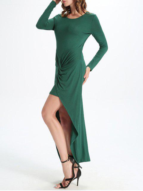 chic Draped High Low Dress - GREEN 2XL Mobile
