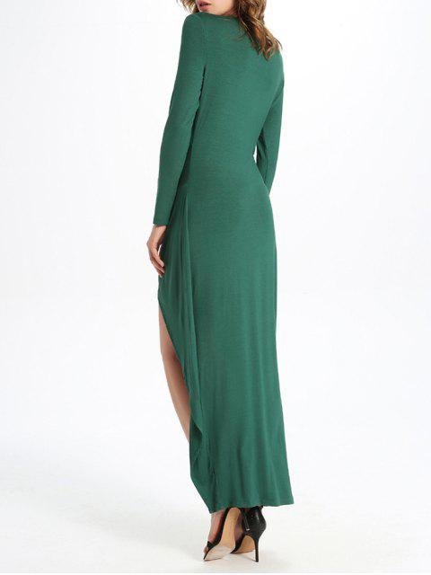 sale Draped High Low Dress - GREEN M Mobile