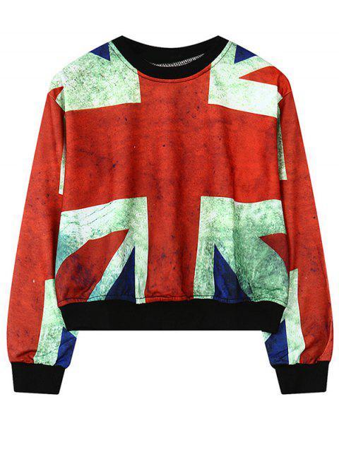 womens Round Neck British Flag Print Sweatshirt - RED ONE SIZE Mobile