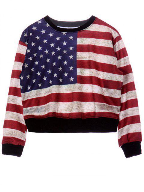 Rundhalsausschnitt-American Flag Print Sweatshirt - COLORMIX  Eine Größe Mobile