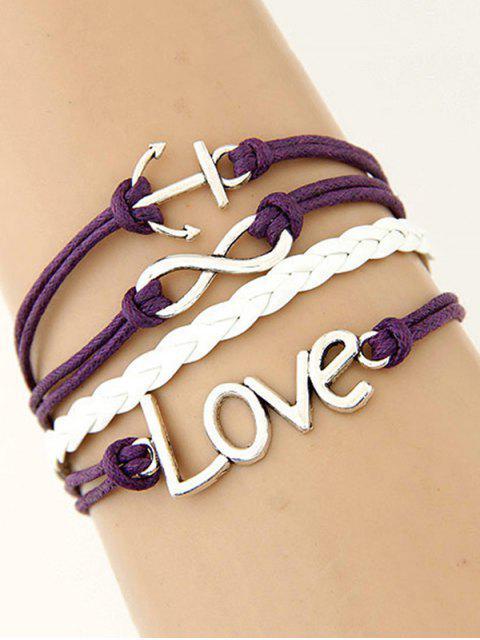 ladies Anchor Layered Bracelet - PURPLE  Mobile