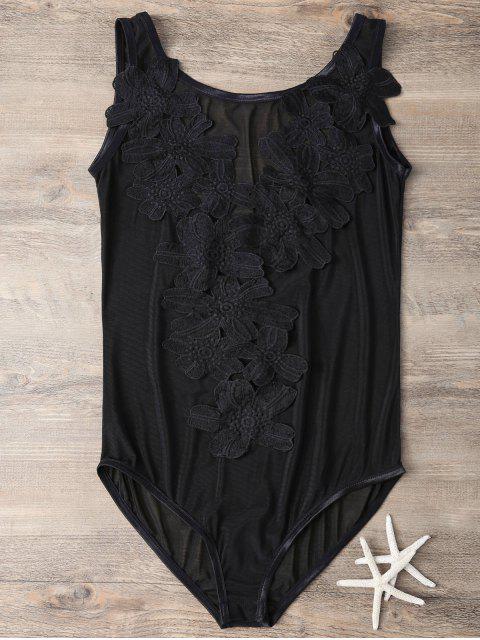 trendy See-Through Applique Black Teddies - BLACK S Mobile