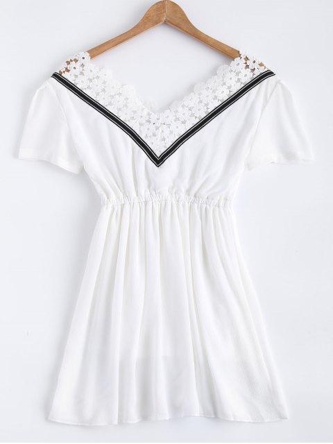 lady Lace Splice V Neck Chiffon Dress -   Mobile