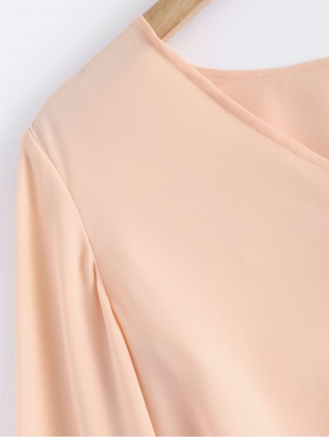 fashion Bell Sleeve V Neck Crossed Tee - PINK L Mobile