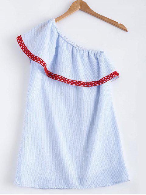 buy Polka Dot Striped One Shoulder Dress - LIGHT BLUE M Mobile