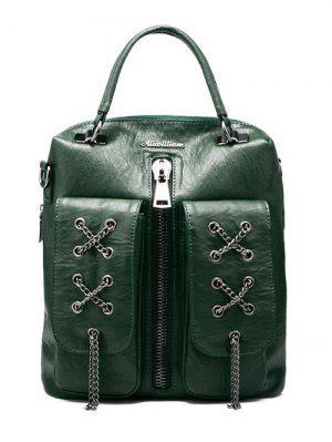 PU-Leder Rucksack mit Ketten und Reißverschluss