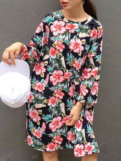 Side Slit Floral Letter Print Dress - BLACK ONE SIZE