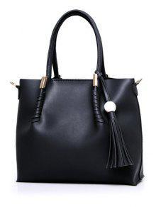 Tassels Metal Bead Tote Bag - Black