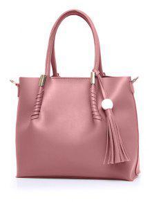 Tassels Metal Bead Tote Bag - Pink