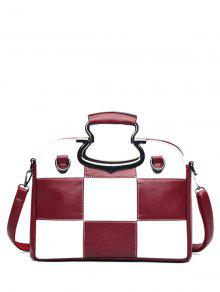 Color Block Checkered Tote Bag - Wine Red