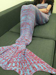 Multicolor Knitting Fish Tail Design Blanket - Blue And Red