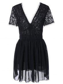 فستان المخرمات  المتشابكة مثير للشهوة  بالياقة المنخفضة  - أسود S