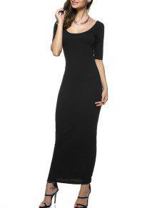 فستان ماكسي مفتوحة الظهر طويل - أسود S