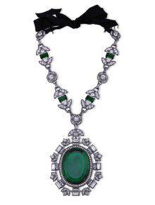 Faux Gem Rhinestone Leaf Oval Necklace - Green