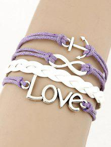 Buy Love Anchor Braided Bracelet - LIGHT PURPLE