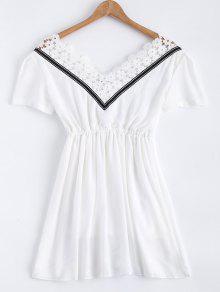 Encaje De Empalme V Vestido De La Gasa Del Cuello - Blanco M
