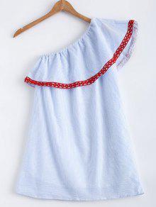 Polka Dot Striped One Shoulder Dress - Light Blue L