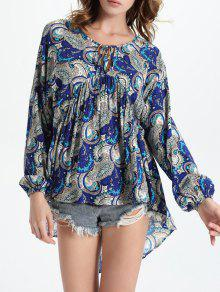 High-Low Printed Round Neck Lantern Sleeve Blouse - Blue M