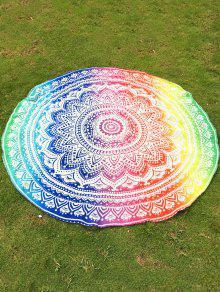 Couverture De Plage Rond En Mousseline De Soie Multicolore Imprimé Mandala