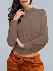 Cropped Hooded Long Sleeve Pullover Hoodie - Coffee M
